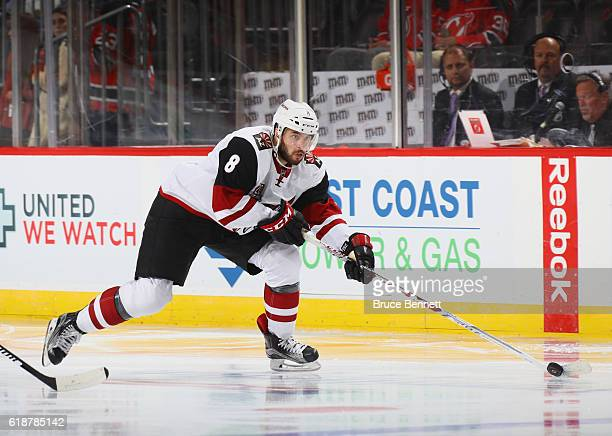 Tobias Rieder of the Arizona Coyotes skates against the New Jersey Devils at the Prudential Center on October 25 2016 in Newark New Jersey