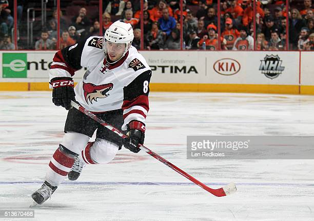 Tobias Rieder of the Arizona Coyotes skates against the Philadelphia Flyers on February 27 2016 at the Wells Fargo Center in Philadelphia Pennsylvania