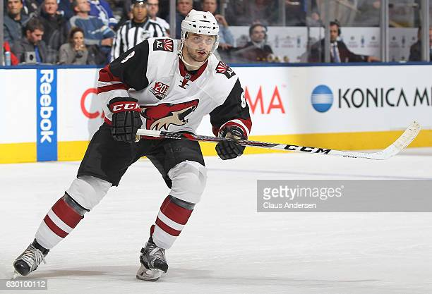 Tobias Rieder of the Arizona Coyotes skates against the Toronto Maple Leafs during an NHL game at the Air Canada Centre on December 15 2016 in...