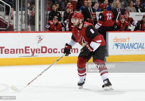 Tobias Rieder of the Arizona Coyotes skates up ice against the Toronto Maple Leafs at Gila River Arena on December 28 2017 in Glendale Arizona