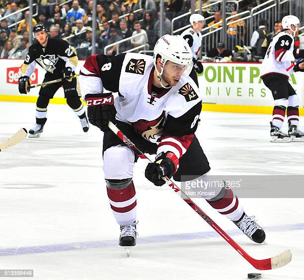 Tobias Rieder of the Arizona Coyotes skates with the puck against the Pittsburgh Penguins at Consol Energy Center on February 29 2016 in Pittsburgh...