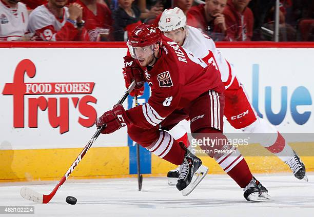 Tobias Rieder of the Arizona Coyotes skates with the puck during the NHL game against the Detroit Red Wings at Gila River Arena on February 7 2015 in...