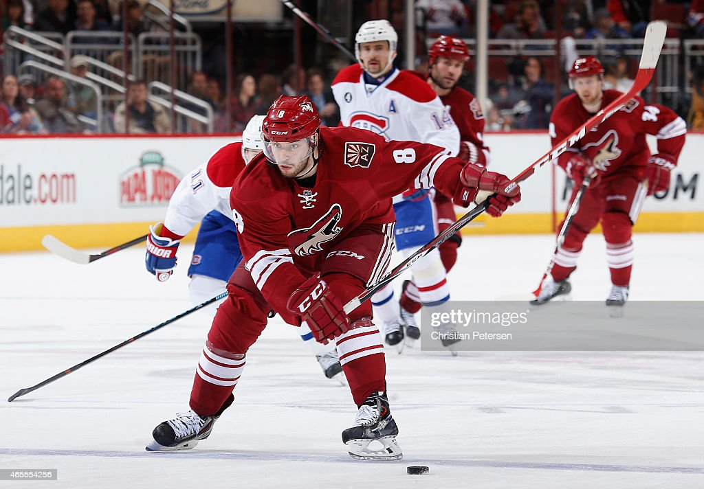 Tobias Rieder #8 of the Arizona Coyotes skates with the puck during the third period of the NHL game against the Montreal Canadiens at Gila River Arena on March 7, 2015 in Glendale, Arizona. The Canadiens defeated the Coyotes 2-0.