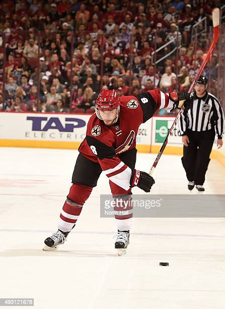 Tobias Rieder of the Arizona Coyotes takes a shot against the Pittsburgh Penguins at Gila River Arena on October 10 2015 in Glendale Arizona