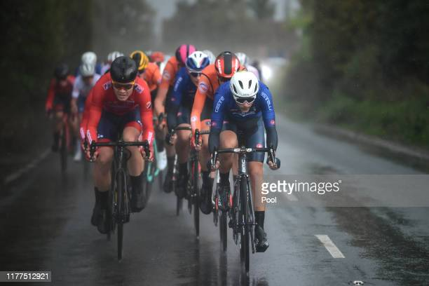 Tobias S Foss of Norway / Samuele Battistella of Italy / Rain / Peloton / during the 92nd UCI Road World Championships 2019 Men Under 23 Road Race a...