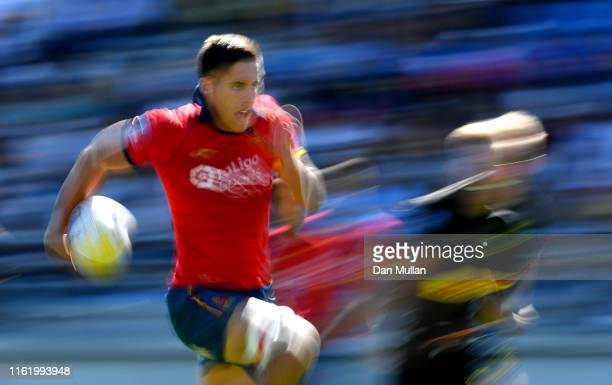 Tobias SainzTrapaga of Spain makes a break during the 5th place match between Germany and Spain on day two of the Mens 7s Olympic Games Regional...