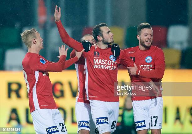 Tobias Salquist Vladimir Rodic Jens Martin Gammelby and Casper Sloth of Silkeborg IF celebrate after scoring their second goal during the Danish Alka...