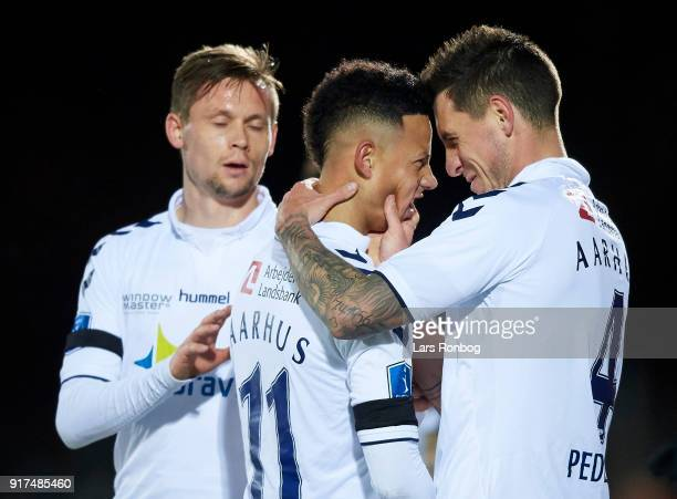 Tobias Sana and Daniel A Pedersen of AGF Aarhus celebrate after scoring their first goal during the Danish Alka Superliga match between Hobro IK and...