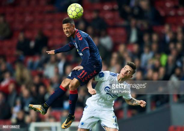 Tobias Sana of AGF Aarhus and Benjamin Verbic of FC Copenhagen compete for the ball during the Danish Alka Superliga match between FC Copenhagen and...