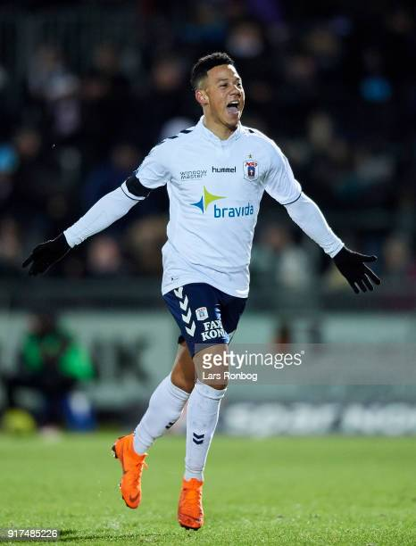 Tobias Sana of AGF Aarhus celebrates after scoring their first goal during the Danish Alka Superliga match between Hobro IK and AGF Aarhus at DS...
