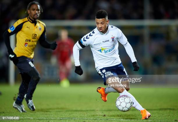Tobias Sana of AGF Aarhus controls the ball during the Danish Alka Superliga match between Hobro IK and AGF Aarhus at DS Arena on February 12 2018 in...