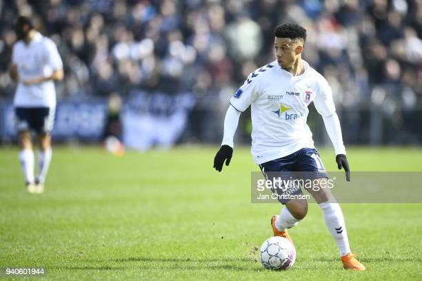 Tobias Sana of AGF Aarhus controls the ball during the Danish Alka Superliga match between Hobro IK and AGF Aarhus at DS Arena on April 1 2018 in...