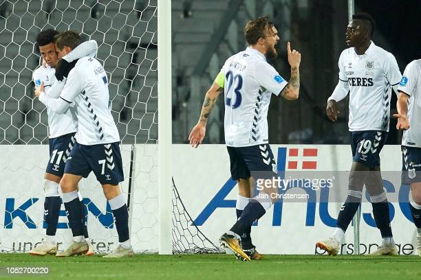 Tobias Sana of AGF Arhus and Jakob Ankersen of AGF Arhus celebrate after the 10 goal from Jakob Ankersen during the Danish Superliga match between...