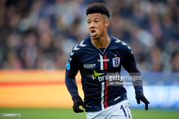 Tobias Sana of AGF Arhus celebrate after his 02 goal during the Danish Superliga match between OB Odense and AGF Arhus at Nature Energy Park on...