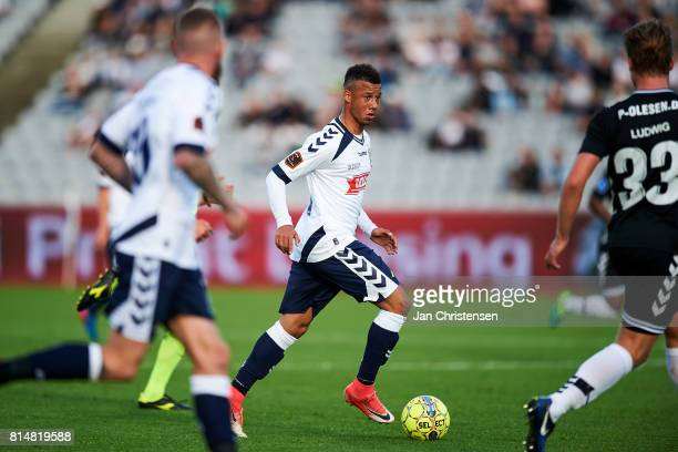 Tobias Sana of AGF Arhus controls the ball during the Danish Alka Superliga match between AGF Arhus and AC Horsens at Ceres Park on July 14 2017 in...