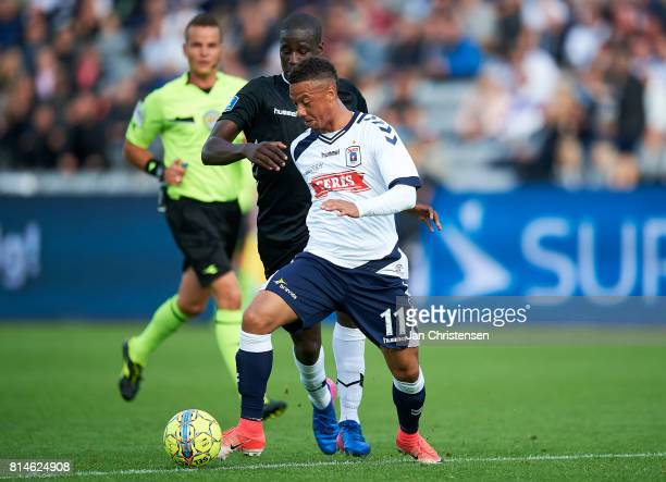 Tobias Sana of AGF Arhus in action during the Danish Alka Superliga match between AGF Arhus and AC Horsens at Ceres Park on July 14 2017 in Arhus...