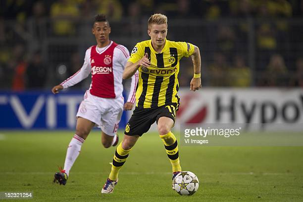 Tobias Sana of AjaxMarco Reus of Borussia Dortmund during the Champions League match between Borussia Dortmund and Ajax Amsterdam at the Signal Iduna...