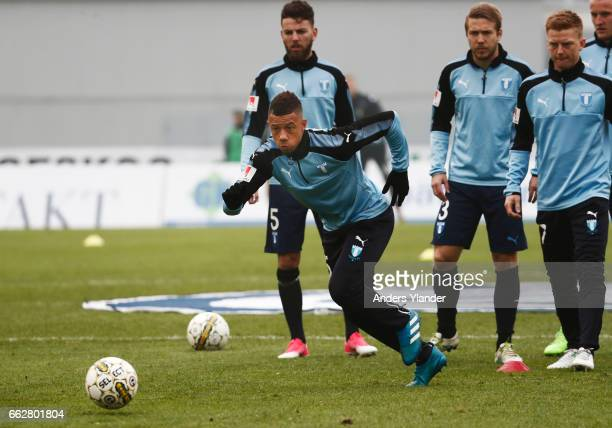 Tobias Sana of Malmo FF ahead of the Allsvenskan match between IFK Goteborg and Malmo FF at Ullevi on April 1 2017 in Gothenburg Sweden