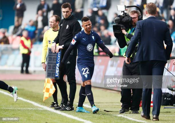 Tobias Sana of Malmo FF is being replaced during the Allsvenskan match between IFK Goteborg and Malmo FF at Ullevi on April 1 2017 in Gothenburg...