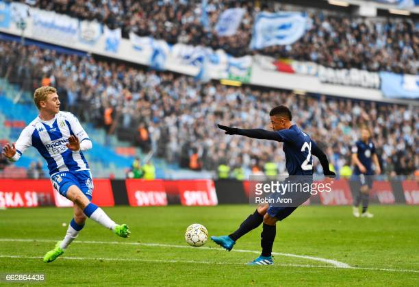 Tobias Sana of Malmo FF shoots during the Allsvenskan match between IFK Goteborg and Malmo FF at Ullevi on April 1 2017 in Gothenburg Sweden
