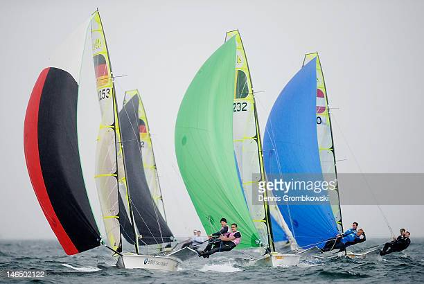 Tobias Schadewaldt and Hannes Baumann of Germany compete in the Men's 49er race during day three of the Kieler Woche ISAF Sailing World Cup event at...