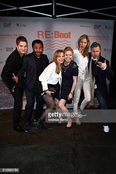 Tobias Schenke Simon Pearce Jasmin Schwiers Caroline Frier Nina Gnaedig and Dirk Borchardt attend the Bavaria Film Party REBOOT on February 14 2016...