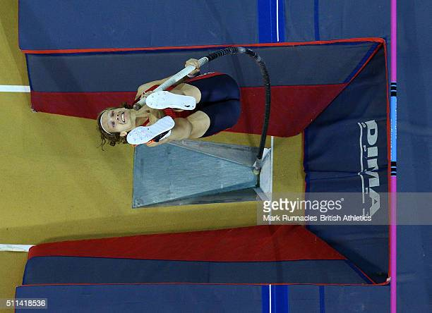 Tobias Scherbarth of Germany competes in the Mens Pole Vault during the Glasgow Indoor Grand Prix at the Emirates Arena on February 20 2016 in...