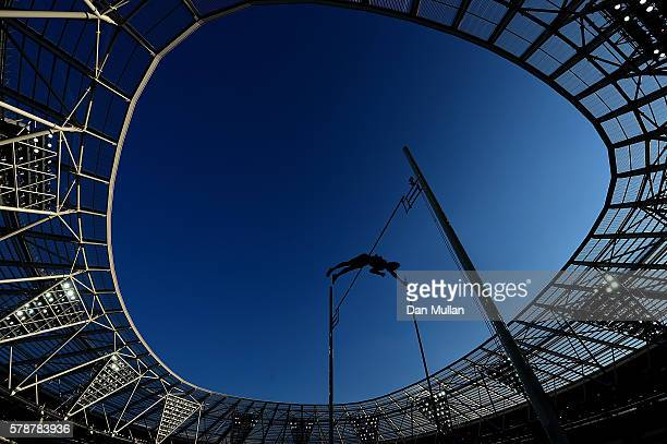 Tobias Scherbarth of Germany in action during the final of the mens pole vault on Day One of the Muller Anniversary Games at The Stadium Queen...