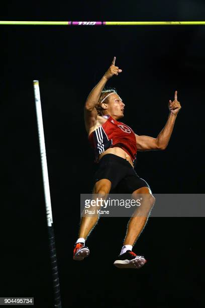 Tobias Scherbath of Germany celebrates a successful vault in the men's pole vault during the Jandakot Airport Perth Track Classic at WA Athletics...