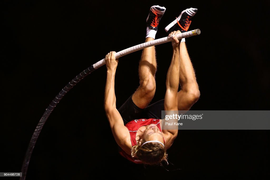 Tobias Scherbath of Germany competes in the men's pole vault during the Jandakot Airport Perth Track Classic at WA Athletics Stadium on January 13, 2018 in Perth, Australia.