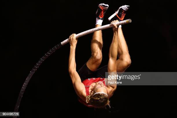 Tobias Scherbath of Germany competes in the men's pole vault during the Jandakot Airport Perth Track Classic at WA Athletics Stadium on January 13...