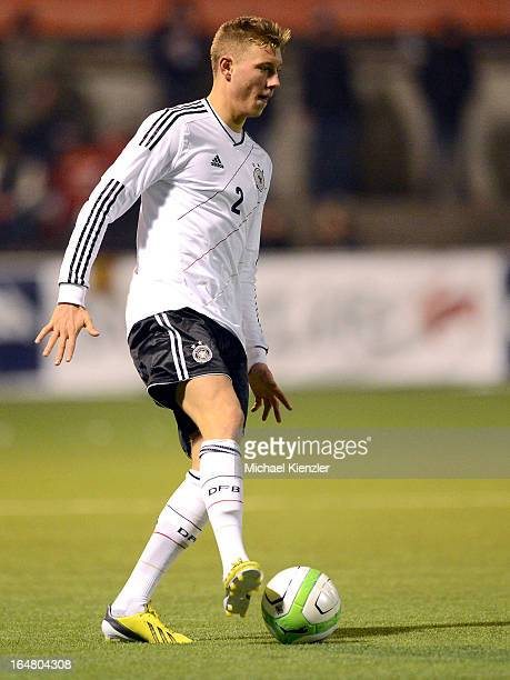 Tobias Schilk of Germany runs with the ball during the international friendly match between U20 Switzerland and U20 Germany at Eps Stadium on March...