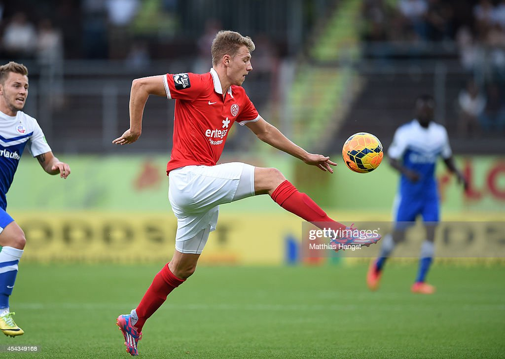 Tobias Schilk of Mainz controls the ball during the Third league match between 1. FSV Mainz 05 II and Hansa Rostock at Bruchweg Stadium on August 29, 2014 in Mainz, Germany.