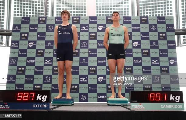 Tobias Schroder of Oxford University Boat Club and Callum Sullivan of Cambridge University Boat Club weigh in during The Boat Race Crew Announcement...
