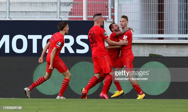 Tobias Schroeck of Ingolstadt celebrates after soring his teams second goal during the 2 Bundesliga playoff second leg match between FC Ingolstadt...