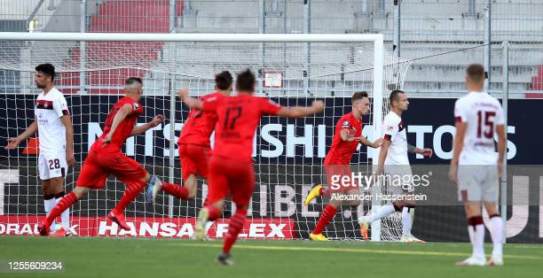 Tobias Schroeck of Ingolstadt celebrates after soring his teams second goal during the 2. Bundesliga playoff second leg match between FC Ingolstadt...