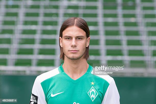 Tobias Schwede poses during the official team presentation of Werder Bremen II at Weserstadium on July 10 2015 in Bremen Germany