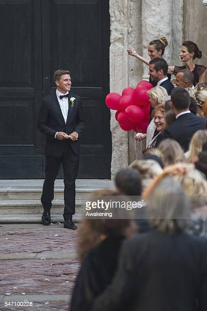 Tobias Schweinsteiger leaves the church after the wedding of Bastian Schweinsteiger and Ana Ivanovic on July 13 2016 in Venice Italy