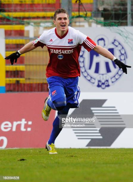 Tobias Schweinsteiger of Unterhaching celebrates his team's first goal during the third Bundesliga match between SpVgg Unterhaching and Hallescher FC...
