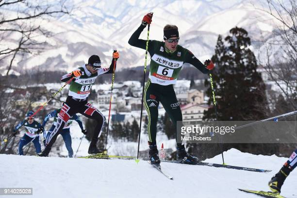 Tobias Simon of Germany competes in the Individual Gundersen LH/10km during day two of the FIS Nordic Combined World Cup Hakuba on February 4 2018 in...