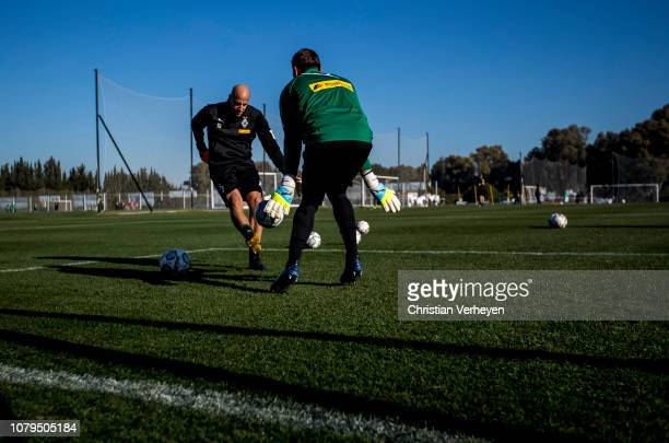 Tobias Sippel and Goalkeeper Coach Steffen Krebs of Borussia Moenchengladbach in action during a training session at Borussia Moenchengladbach...