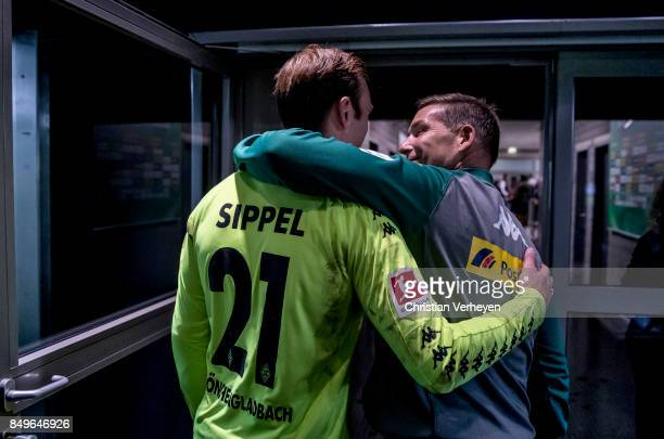 Tobias Sippel and Goalkeeper Coach Uwe Kamps of Borussia Moenchengladbach after the Bundesliga match between Borussia Moenchengladbach and VfB...