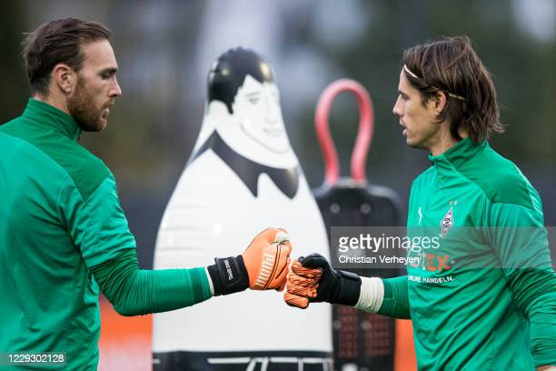 Tobias Sippel and Yann Sommer of Borussia Moenchengladbach are seen during a Training session of Borussia Moenchengladbach at BorussiaPark on October...
