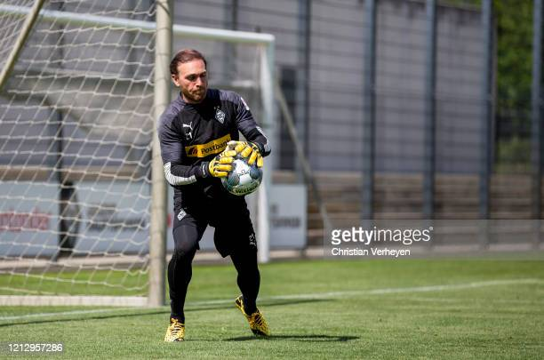Tobias Sippel in action during a training session of Borussia Moenchengladbach at BorussiaPark on May 14 2020 in Moenchengladbach Germany