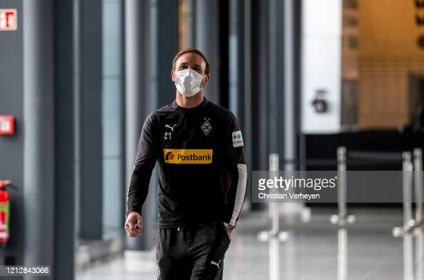 Tobias Sippel is seen during the PreGame Quarantine of Borussia Moenchengladbach at BorussiaPark on May 11 2020 in Moenchengladbach Germany