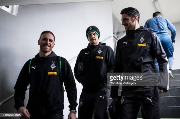 Tobias Sippel Jonas Hofmann and Lars Stindl of Borussia Moenchengladbach arriving at the stadium before the Bundesliga match between Borussia...