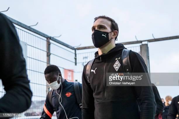 Tobias Sippel of Borussia Moenchengladbach is seen before the Bundesliga match between Borussia Moenchengladbach and RB Leipzig at BorussiaPark on...