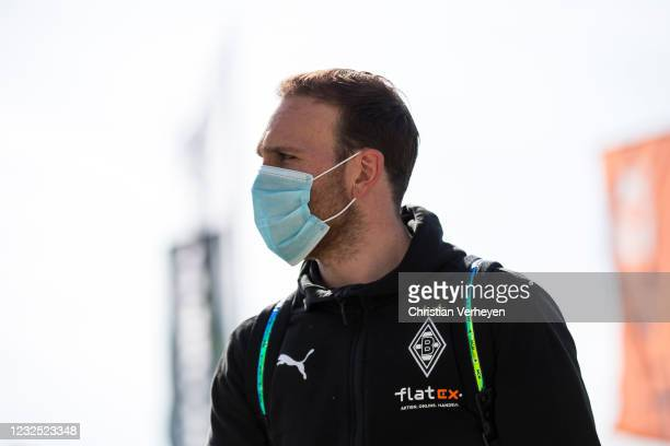 Tobias Sippel of Borussia Moenchengladbach is seen before the Bundesliga match between Borussia Moenchengladbach and DSC Arminia Bielefeld at...