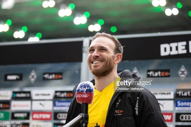 Tobias Sippel of Borussia Moenchengladbach talks to the media after the Bundesliga match between Borussia Moenchengladbach and Eintracht Frankfurt at...