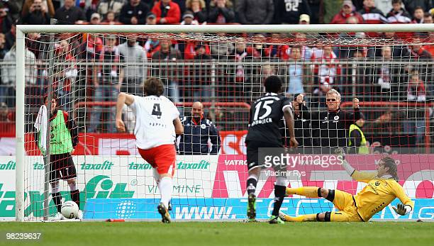Tobias Sippel of Kaiserslautern concedes the second goal scored from a penatly kick by Markus Kaya of Oberhausen during the Second Bundesliga match...
